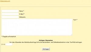 Screenshot Gästebuch